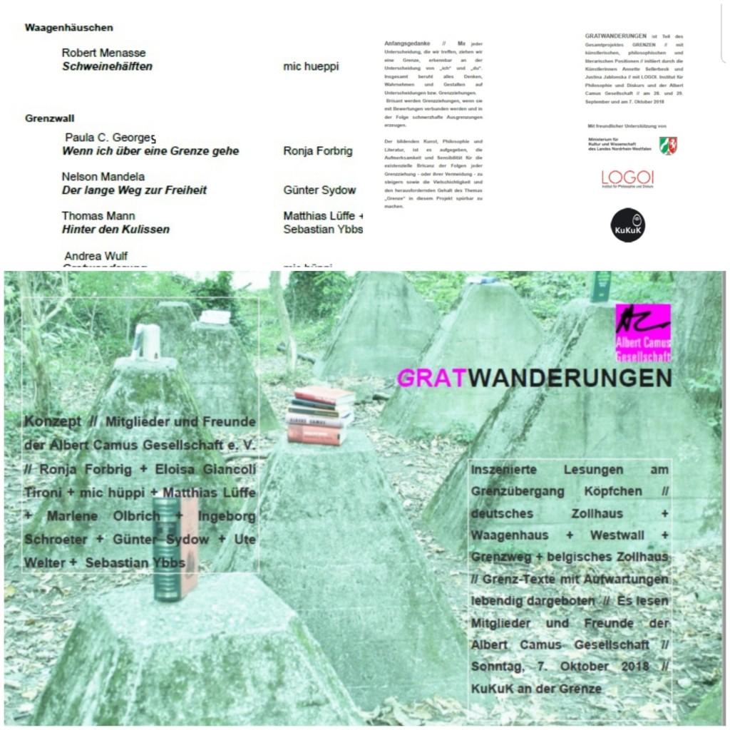 Flyer für Lesung 7.10.2018 Albert-Camus-Gesellchaft Aachen